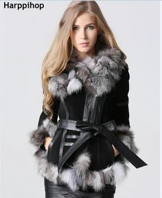 eastern fur 2014 Winter Lady pig Leather Coat Jackets with big Fox Fur collar Outerwear Coats Warm Overcoats Female Fur jacket Pink Fur Coat, Fox Fur Coat, Fur Fashion, Winter Fashion, Fashion Outfits, Winter Coats Women, Coats For Women, Fur Clothing, Outerwear Women