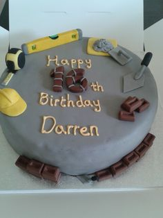 Bricklayer builder birthday cake
