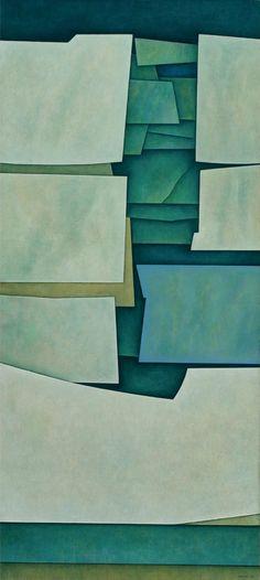 'Estructura Verdes' por Gunther Gerzso, óleo sobre lienzo, 1964 -  'Green Structures' by Gunther Gerzso, oil on canvas, 1964