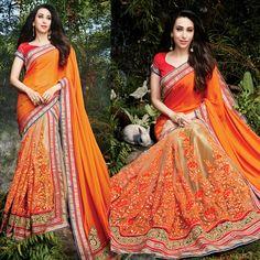 Orange Net Embroidered Saree
