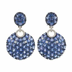 Sapphire and Diamond Pendant-Earclips, Piranesi . Blackened & 18 kt. white gold, round and oval sapphires ap. 39.00 cts., signed Piranesi. (Via Doyle New York.)