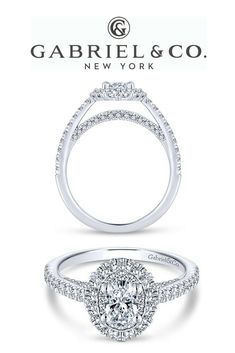 14k White Gold Oval Double Halo Diamond ENGAGEMENT RING Achieve the sparkle of your dreams with this double halo engagement ring. Atop a straight pave diamond band, two diamond halos surround a glamorous oval cut diamond center stone.