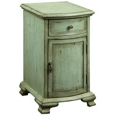 Weathered Green One Drawer One Door Cabinet