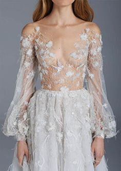 Ball gown with feather detailing and floral embroidery // The Nightingale: Paolo Sebastian Spring/Summer 2015-16 Collection