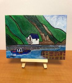Excited to share this item from my #etsy shop: Hand painted Acrylic Painting on a Miniature Canvas Board (with wooden easel), Porthgain Harbour, Pembrokeshire #canvasboard #miniaturecanvas #acrylic #porthgainharbour #pembrokeshire Pembrokeshire Coast, Wooden Easel, Miniature Paintings, Acrylic Artwork, Canvas Board, Pretty Little, Canvas Size, Wales, Arts And Crafts
