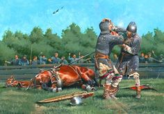 Guy of Steenvoorde versus Iron Herman, by Zvonimir Grbasic. Medieval World, Medieval Knight, Medieval Times, Dark Fantasy, Fantasy World, Norman Knight, Armadura Medieval, Early Middle Ages, 11th Century
