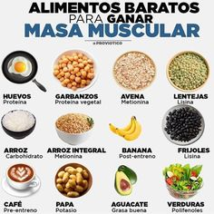 Los Mejores alimentos para aumentar masa muscular son: Huevos Garbanzos Avena L… The best foods to increase muscle mass are: Eggs Chickpeas Oatmeal Lentils Banana Rice And Tomato Nutrition, Healthy Nutrition, Healthy Recipes, Holistic Nutrition, Nutrition Guide, Proper Nutrition, Complete Nutrition, Healthy Snacks, Nutrition Education