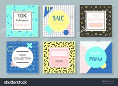 Social Media Promotion Graphic Templates. Memphis Style. Hipster Geometry. Creative And Minimal Banners With Hand Drawing And Geometry Pattern Design. For Web And Apps. Stock Vector Illustration 504619399 : Shutterstock