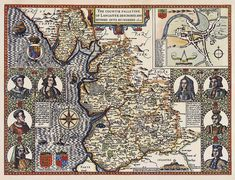 The countie pallantine of Lancaster [Lancashire,England] described and divided into IV of England. Henry V of England.Henry VI of England. Henry VII of England.Edward IV of England. Edward V of England.Richard III of England. Elizabeth of York Ireland Beach, Ireland Vacation, History Online, Local History, London Map, Old Maps, Vintage Maps, 15th Century, Old Things