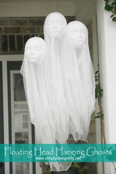 It is so easy to make these Pottery Barn knock-off Hanging Ghosts! And they make the perfect not-so-spooky Halloween decor for your front porch!