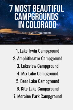 Whether you hike, bike, or drive to them, Colorado has some truly unforgettable views. These 7 campgrounds in Colorado are among the most scenic. Road Trip To Colorado, Colorado Hiking, Colorado Mountains, Colorado Springs, Rv Travel, Places To Travel, Travel Tips, Adventure Travel, Snowshoe