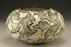 Jennifer Falter Sgraffito bowl gingko leaves pottery ceramics clay
