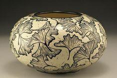 Jennifer Falter Sgraffito bowl gingko leaves pottery ceramics clay