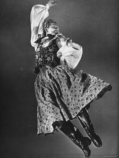 By Gjon Mili. Polish Dancer Kazimiera Demonstrating Leaping Step of the Krakovia Polish Dance
