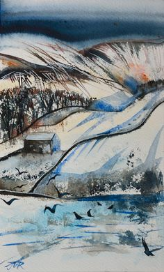 Winters Day, Howgills. Watercolour. Janet Mary Robinson (JMR)