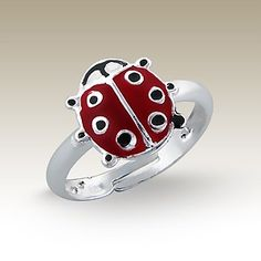 Ladybug ring - Finishing: Sterling silver+E-coat 925 Sterling silver Design from Bangkok925.com  Dimensions:  	Adjustable  nice Silver Children Rings at $3.56