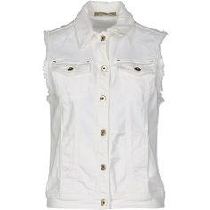 Patrizia Pepe Denim Outerwear (€110) ❤ liked on Polyvore featuring outerwear, white and patrizia pepe