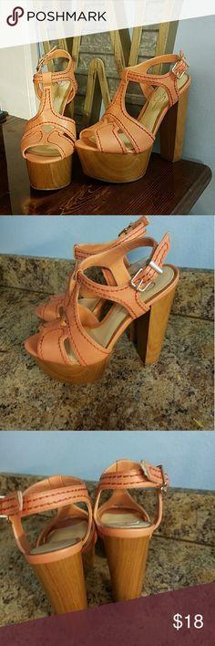 Jeasica Simpson super cute wooden block heels 7.5 Size 7.5 m super cute jessica simpson block wooden heels orange salmonish color in good condition Jessica Simpson Shoes Heels