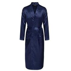 b03a54c71c Men s Satin Rayon Robe Gown Solid Color Kimono Bath Gown Lounge Casual Male  Nightgown Sleepwear Home