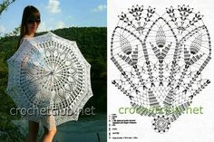 These umbrellas crochet can not protect you from the rain, but they are the perfect creative design of a rainy day! They also serve as shade from the sun, a beautiful addition to a costume or just dec Filet Crochet, Crochet Motifs, Crochet Diagram, Crochet Chart, Thread Crochet, Crochet Doilies, Crochet Stitches, Knit Crochet, Crochet Patterns