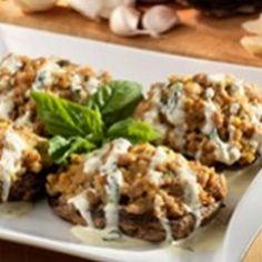 Italian Sausage Stuffed Portobello Mushrooms with Herb Parmesan Cream Sauce