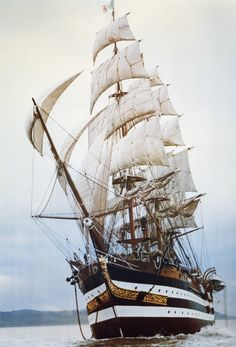"theravingcelt: "" jade-cooper: "" The Amerigo Vespuccia, a training ship in the Italian Navy, named after the explorer and cartographer Amerigo Vespucci Its home port is La Spezia, Liguria. "" Apparently whilst sailing in the Mediterranean. Moby Dick, Old Sailing Ships, Ship Drawing, Ship Of The Line, Wooden Ship, Armada, Sail Away, Ship Art, Model Ships"