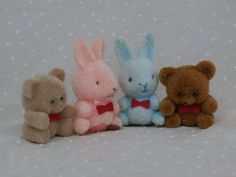 I loved these little things!  4 1980s Style Flocked Animals 2 Bunnies and 2 Teddy Bears - cute miniatures, $2.99
