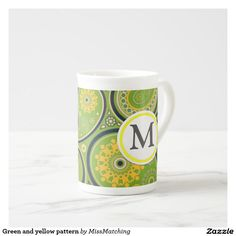 Green and yellow paisley personalized tea cup