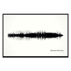 """Bohemian Rhapsody - 11x17 Framed Soundwave print. Queen inspired Soundwave Print. Limited quantity is hand-numbered by the artist. American made. Framed and ready-to-hang. 11""""x17"""" custom black wood frame with Museum Glass (filters out 97% of UV rays and eliminates reflection with more clarity than regular glass). Brian May recalled recording """"Bohemian Rhapsody"""" in Q Magazine March 2008: """"That was a great moment, but the biggest thrill for us was actually creating the music in the first..."""