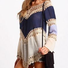 """HOST PICKCROCHET BLOUSE COLOR BLOCK HOLLOW CROCHET LOOSE TOP B:38"""" L:31"""" Material:poly OSFAPRICE FIRM ON RETAIL ITEMSI DON'T TRADE OR MODEL Boutique Tops Tunics"""