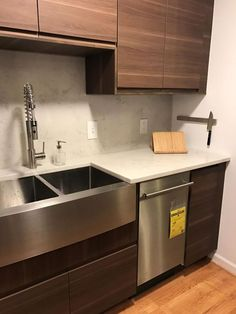 IKD customer Marie chose a Kraus faucet and a stainess steel farmhouse sink for her IKEA kitchen. (The slimline dishwasher is from Summit Appliances). Ikea Kitchen Design, New Kitchen Designs, Kitchen Images, Kitchen Decor, Kitchen Ideas, Ikea Kitchen Countertops, Kitchen Flooring, Ikea Kitchens, Slimline Dishwasher