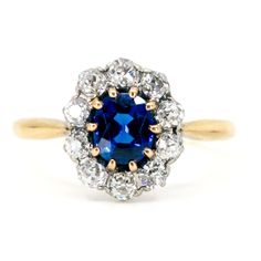 This beautiful antique ring feature Sapphire surrounded by (H Old Mine Cut Diamonds in Gold and Platinum. Platinum Ring, Antique Rings, 18k Gold, Diamond Cuts, Vintage Jewelry, Sapphire, Antiques, Diamonds, French