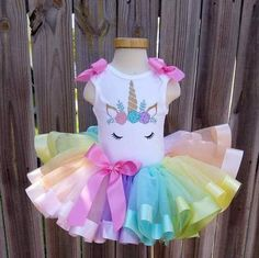 Aqua Pink Purple and Gold Pastel Rainbow Unicorn First Second Third Fourth Birthday Ribbon Tutu Outfit Free Personalization Unicorn Themed Birthday, Fourth Birthday, Birthday Tutu, Unicorn Birthday Parties, Unicorn Party, Birthday Party Decorations, Rainbow Unicorn, Ribbon Tutu, Unicorn Dress