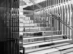 | STAIRS | Saint Laurent Saint-Sulpice Store in Paris. Love the graphic marble and chrome  staircase which is so Hedi Slimane.
