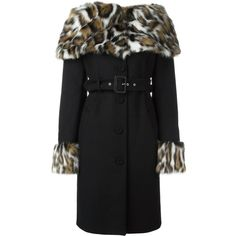 Moschino faux fur collar coat ($1,290) ❤ liked on Polyvore featuring outerwear, coats, black, leopard print coat, mid length coat, moschino coat, pattern coat and moschino