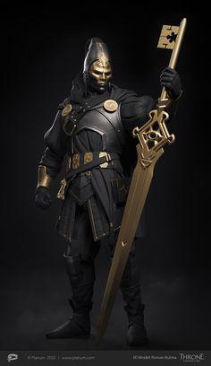 ArtStation - Inquisitor 3d model , Roman Kizima Fantasy Character Design, Character Design Inspiration, Character Concept, Character Art, Fantasy Armor, Fantasy Weapons, Dark Fantasy Art, Armor Concept, Weapon Concept Art