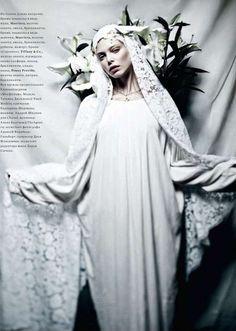 Angelic White Veils : Tanya Dziahileva Harpers Bazaar Russia