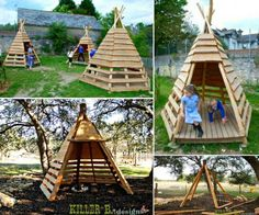 Teepee Pallet Playhouse - These Teepee Playhouses are simple to create at low cost, and can help encourage your little ones to have fun playing in the garden or backyard for fun in coming days. It's m (Chicken Backyard Plants) Pallet Crafts, Diy Pallet Projects, Outdoor Projects, Pallet Ideas, Carpentry Projects, Pallet Dyi, Garden Pallet, Pallet House, Pallet Playhouse