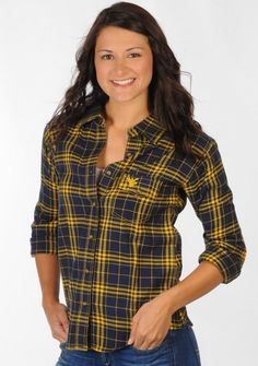 Got it .. Love it ... WVU Mountaineers Boyfriend Fit Classic Plaid Shirt