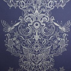 Sinbad Damask Wallpaper by Laurence Llewelyn-Bowen - Designer Blue Wall Coverings by Graham  Brown