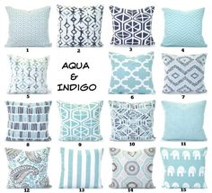 Aqua Navy Pillow Covers Cushions Decorative Throw Pillows Pastel Aqua Indigo Navy Taupe White Couch Bed Sofa Blue PillowsVARIOUS SIZES