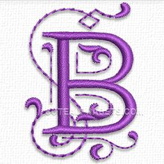 This free embroidery design is from Cute Embroidery's Purple Alphabet.  It's the letter B.