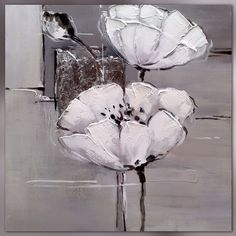 Fleurs blanches sur format carré Painting Corner, Evans Art, Black And White Painting, Modern Art Paintings, Online Painting, Art Background, Texture Art, Painting Inspiration, Flower Art