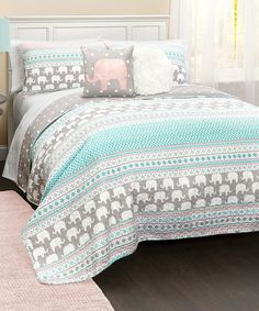 Another great find on #zulily! Turquoise & Pink Four-Piece Elephant Stripe Quilt Set by Lush Décor #zulilyfinds