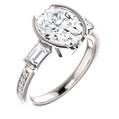 2.0 Ct Oval Ring 14k White Gold