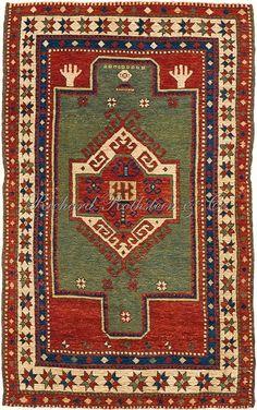 Caucasian Kazak rug: Kazak prayer rug with hands