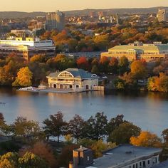 Boston University DeWolfe Boathouse appears on the north side of the Charles River. As depicted this late October photograph shows the Charles River and Esplanade bursting in fall foliage color all around the Boathouse and the river. Photograph taken from Warren Towers student residence. #burooftoptour photo courtesy of Daryl DeLuca @bumensrowing @bostonu @bostonattitude @bualumni @crbrotc @haydenfolgert @garrisonbentz @gugigumdrop @usrowingngb by daryl.deluca