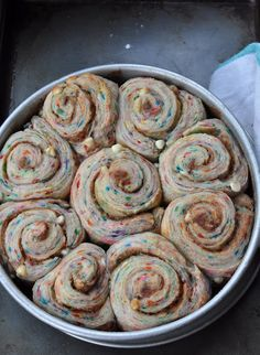 Birthday cake cinnamin rolls for breakfast - great idea! =)