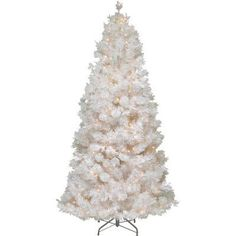 The Holiday Aisle 7.5' White Grande Slim Artificial Christmas Tree with 500 Pre-Lit Clear Lights with Stand