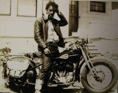 56d2d9e97 Early Black Biker-- Love his crazy hair, cool belt and rolled-up jeans.  Marcel Leliënhof · Old school bikers